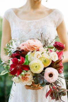 blush pink, cream, and merlot florals
