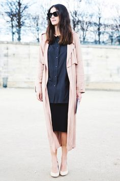Leila Yavari chic in blush Trench Coat + Pencil Skirt + Nude Pumps #StreetStyle