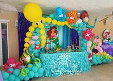 Mermaid Theme Birthday, Little Mermaid Birthday, Little Mermaid Parties, Mermaid Party Decorations, Balloon Decorations, Birthday Party Decorations, 1st Birthday Parties, Ariel, Balloons