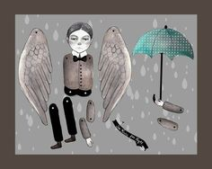 sweet angel paper doll | angel boy umbrella mister. articulated doll, paper craft, printable