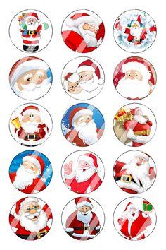 "Santa Christmas Bottle Cap 1"" Circle Images Sheet #2 instant download or precut"