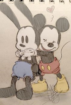 Oswald the lucky rabbit and his little brother Mickey Mouse❤️❤️ Disney Pixar, Film Disney, Disney Fan Art, Disney And Dreamworks, Disney Mickey, Disney Magic, Mickey Mouse Drawings, Mickey Mouse Art, Mickey Mouse And Friends