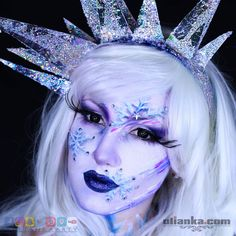 Ice Queen is giving out some !Please make sure to check my . This piece of work was created as a part of with group . That is how I feel at this time of the year- cold and colourful ; Illusion Paintings, Adult Christmas Party, Winter Makeup, Glitter Lips, Ice Queen, White Paints, Lip Makeup, Face And Body, Body Painting