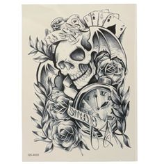 Skull Clock Rose Horror Ghost Patterns Waterproof Temporary Tattoo Sticker Body Art Arm - Gchoic.com