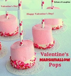 Marshmallow pops for Valentine's Day...love the pink marshmallows!!