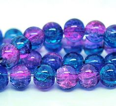 35 Crackle Glass Beads 6mm Deep Sky Blue and by BohemianFindings, $1.95
