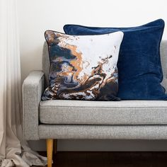 Copper Night Cushion Metallic Cushion Cover with Leather