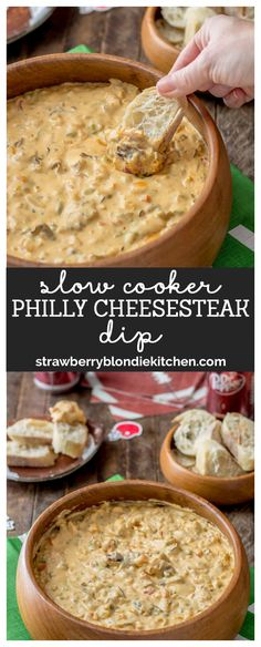 Your hungry game day fans will love this Slow Cooker Philly Cheesesteak Dip. The classic sandwich turned into a dip that's packed with roast beef, peppers, cheese and onions. What's not to love?!