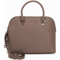 Michael Michael Kors Lg Dome Satchel ($455) ❤ liked on Polyvore featuring bags, handbags, accessories, cinder, womens-fashion, dome satchel, zip bags, brown handbags, brown bag and zipper bag