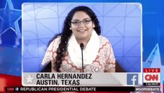 Carla Hernandez from UT Austin Caused an Uproar Over Her GOP Debate Question  It was a simple question, but it mixed religion and politics and it was directed to candidates who lean on their religion to explain their politics. Why did it make them and so many on social media so uncomfortable?