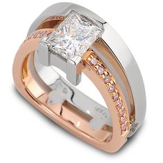 Horizon Collection - 1.47ct Princess Cut Diamond accented by Fancy Pink Diamonds set in 18K Rose Gold & Platinum.