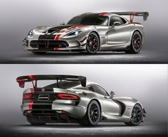 The Dodge Viper VX was unveiled at the 2012 New York Motor Show by the American car company Chrysler. 2016 Dodge Viper, Viper Acr, Hot Cars, Super Cars, Wheels, Track, Street, Autos, Runway