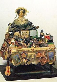 Antique Peddler Doll, With Her Table Of Wares.