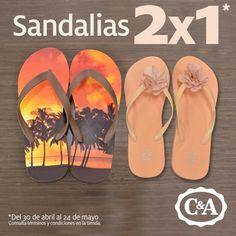 C&A sandalias para dama y caballero al 2x1