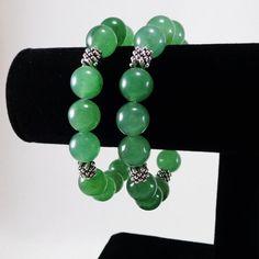 Green Aventurine Bracelet.    Beautiful Green Aventurine gemstone beads 12mm and Pewter metal beads on Elastic Cord.    Green Aventurine, also