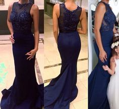 Lace Prom Gown,Mermaid Prom Dresses,Royal Blue Evening Gowns,Lace Party Dresses