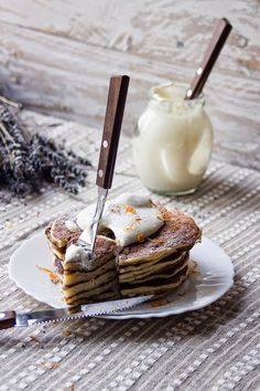 Orange Rosemary Pancakes with Lavender Honey Whipped Cream//