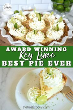 I am a sucker for a good sweet-tart key lime pie! Creamy, plenty of pucker power and the best part is you make it ahead of time! A year round dessert delight! Even during the holidays for non-traditional holiday dessert! Made with a simple graham cracker crust, this award winning pie is simply the best! #thefreshcooky #keylimepie #pierecipes Quick Easy Desserts, Easy Baking Recipes, Ham Recipes, Homemade Desserts, Yummy Recipes, Best Key Lime Pie, Best Pie, Party Cookies Recipe, Keylime Pie Recipe