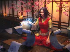 East Asian woman with scrolls, magic user #poc #fantasy #diversity