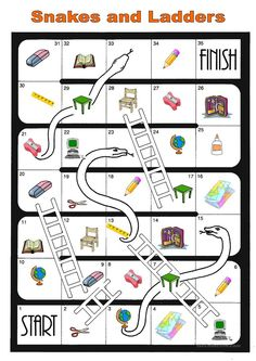 board game school things - English ESL Worksheets for distance learning and physical classrooms English Worksheets For Kids, English Games, English Activities, English Fun, English Lessons, Learn English, Speaking Games, Printable Board Games, Printable Worksheets