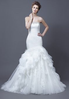 Enzoani Haldana Trumpet Tulle Wedding Dress at the Nearly Newlywed Wedding Dress Shop - Loving this dress!