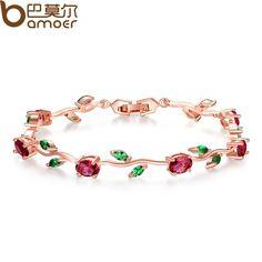 Rose Gold Plated Leaf Chain Bracelet - Bracelets World