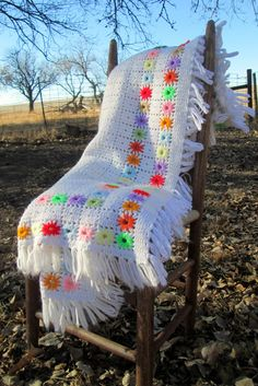 Vintage Afghan Crochet Large White with colored by Holliezhobbiez, $20.00