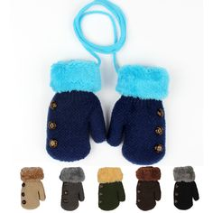 Knitted Full Finger Winter Wool Gloves for Kids