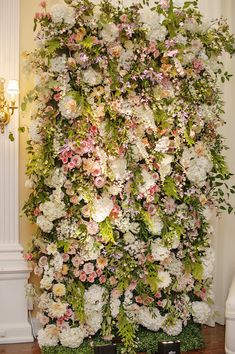 Beautiful cream, pink, peach, and purple flower wall with tons of cascading greenery by Courtenay Lambert Floral & Event Design. Flower Wall Backdrop, Floral Backdrop, Wall Backdrops, Flower Wall Decor, Flower Decorations, Wedding Decorations, Wedding Centerpieces, Flower Wall Wedding, Rustic Wedding Flowers