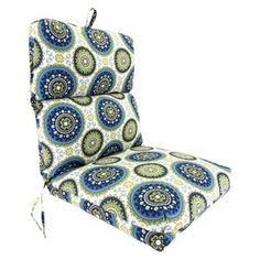 Outdoor Universal Chair Cushion - Blue/Green/Yellow Geometric