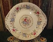 #Vintage Handled Cake Plate in Chatelaine~ #Discontinued Pattern by Paragon England, #By Appointment to Her Majesty the Queen OutrageousVintagious at Etsy.com