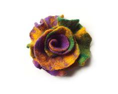 Felted flower brooch felt flower brooch colorful от MarlenaRakoczy