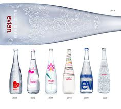 evian and Elie Saab release the 2014 limited edition designer bottle. Water Packaging, Cool Packaging, Food Packaging Design, Beverage Packaging, Bottle Packaging, Packaging Design Inspiration, Brand Packaging, Agua Mineral, Mineral Water