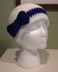 Women s Colts Beanie White with Sparkle Blue Bow. Crochet Gifts ... 5c04186bb8e6