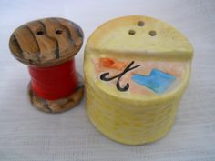 Sewing Basket and Spool of Thread Salt and Pepper Shakers - vintage, collectible, Enesco, Japan by TheShakerShack on Etsy