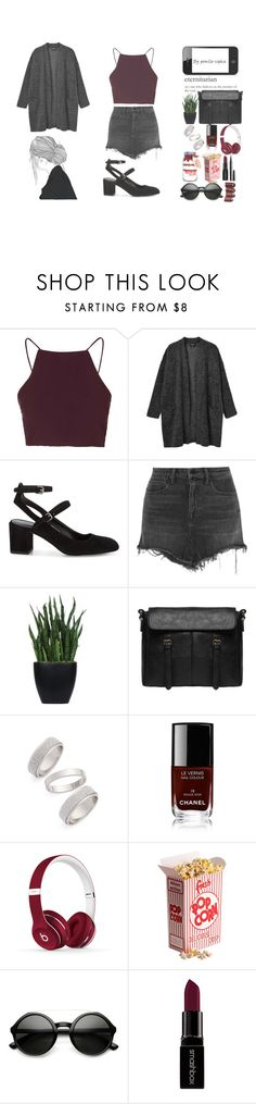 """""""Pretty red and black"""" by pernille-sophie ❤ liked on Polyvore featuring Topshop, Monki, Rebecca Minkoff, Alexander Wang, Lux-Art Silks, Chanel, Beats by Dr. Dre, Hostess, Smashbox and Marc Jacobs"""