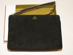 Fossil SL6816001 Gift Wristlet Black pouch wallet Multi leather NWT*^ #Fossil #Wristlet