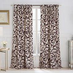 VCNY Brandy Flocked Scroll Curtain - 52'' x 84''