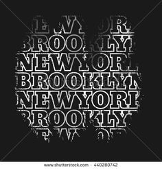 Vector illustration on the theme of New York, Brooklyn. Grunge background. Typography, t-shirt graphics, poster, banner, stamp, print, postcard