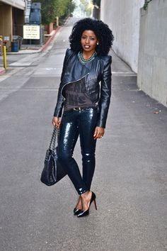 Style Pantry | Biker Leather Jacket + T-shirt + Sequin Jeans