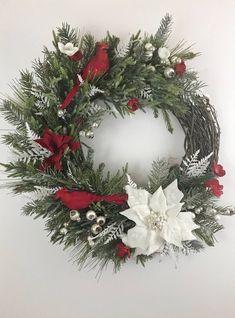 Cardinal Christmas Wreath, White Poinsettias Wreath, Winter Wreath, White Poinsettias, Cardinal Christmas Decor This gr Cardinal Christmas Decor, Grapevine Christmas, Christmas Greenery, Christmas Door, Christmas Balls, Rustic Christmas, Christmas Crafts, White Christmas Wreaths, Christmas Ring
