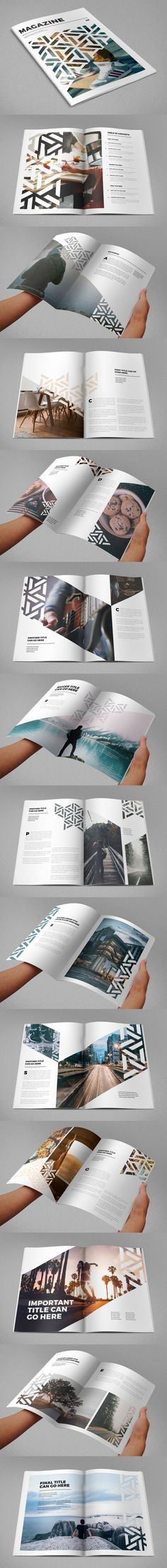 I really like the funky geometric shapes used within the photos, it gives the magazine a unique and clean look. -Kyrene Modern Cool Pattern Magazine Template InDesign INDD - 28 Custom Pages Mises En Page Design Graphique, Art Graphique, Design Editorial, Editorial Layout, Graphisches Design, Print Design, Design Trends, Pattern Design, Modern Design