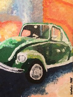 """Beatle;"" Acrylic on canvas board; Impressionism; artist Natalie Shreck"