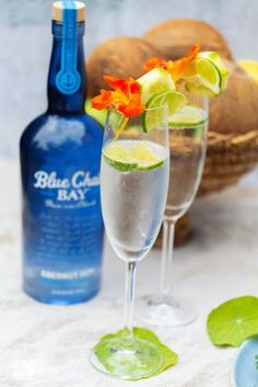 Sparkling Coconut is an easy, light, and refreshing two ingredient cocktail recipe. Just pour Blue Chair Bay Coconut rum into a glass and top with your champagne of choice. Enjoy this delicious bubbly drink during brunch or after dinner. Click here for the full recipe. #bluechairbay #coconutrum #rumcocktail