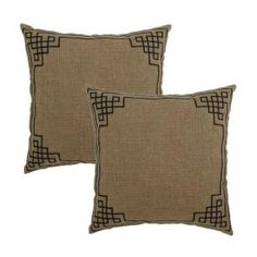 Plantation Patterns 18 in. Bark Embroidery Patio Throw Pillow (2-Pack)-7675-02003700 at The Home Depot