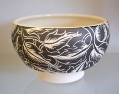 Ceramic Tea Bowl in Dark Botanical Sgraffito Motif by Oxide Pottery of Lynchburg, Virginia