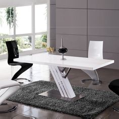 Zoro Dining Table Only In White Gloss And Chrome