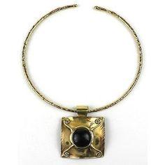 X Squared Dark Blue Tiger Eye Brass Pendant Necklace - Brass Images (N)