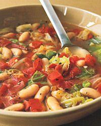Cabbage & White-Bean Soup with Prosciutto