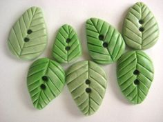 Spring Leaves Polymer Clay Buttons set of seven by DollyMadison.etsy.com